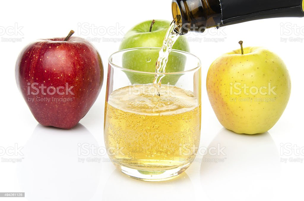 Cider with three sorts of apple stock photo