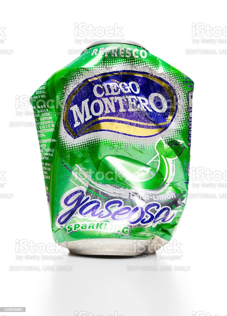 Ciego Montero soda lime-lemon weathered can stock photo