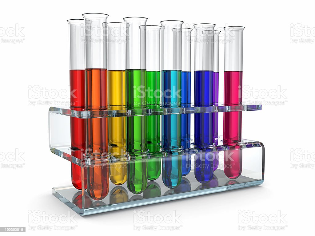 cientific research. Glass test tubes with reagent royalty-free stock photo