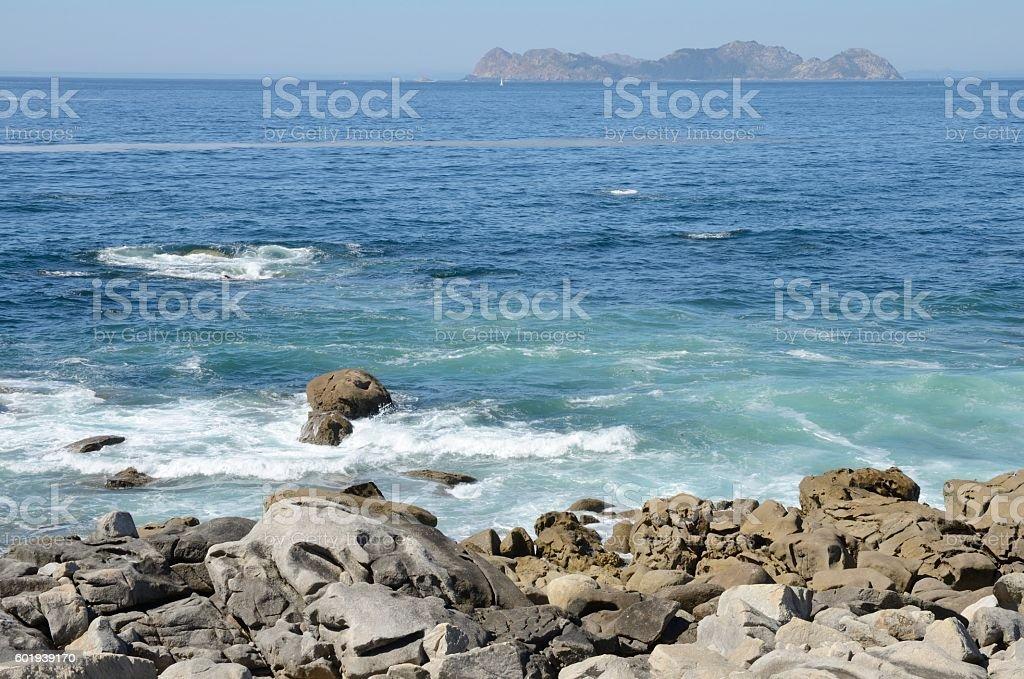 Cies Islands seen from Baiona stock photo