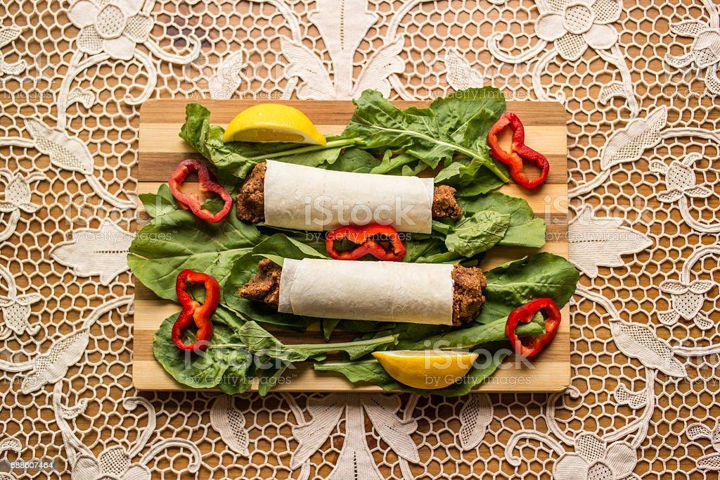 Cig kofte durum / Shawarma / Turkish food. stock photo