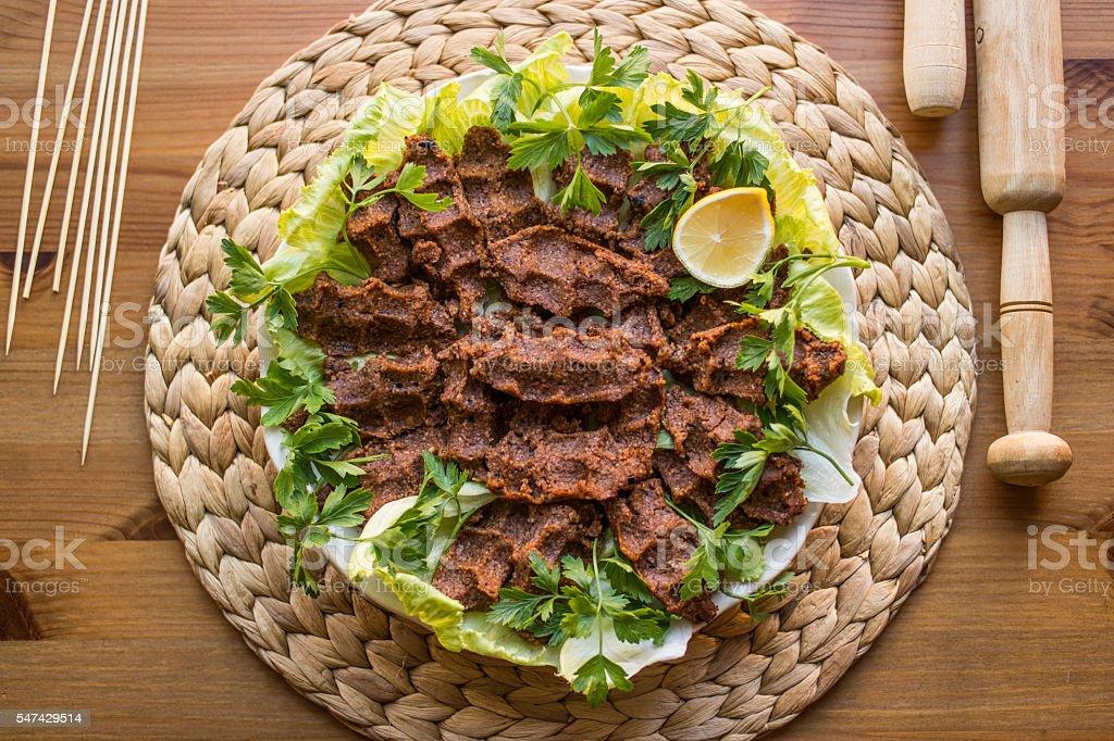 Cig kofte / Turkish food stock photo