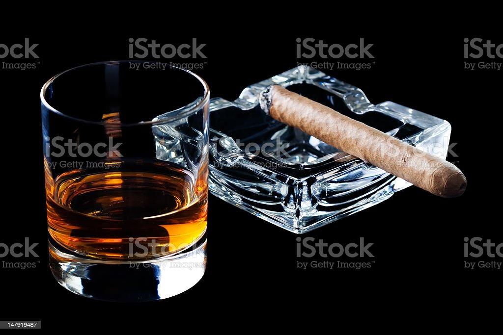 Cigar and whiskey royalty-free stock photo
