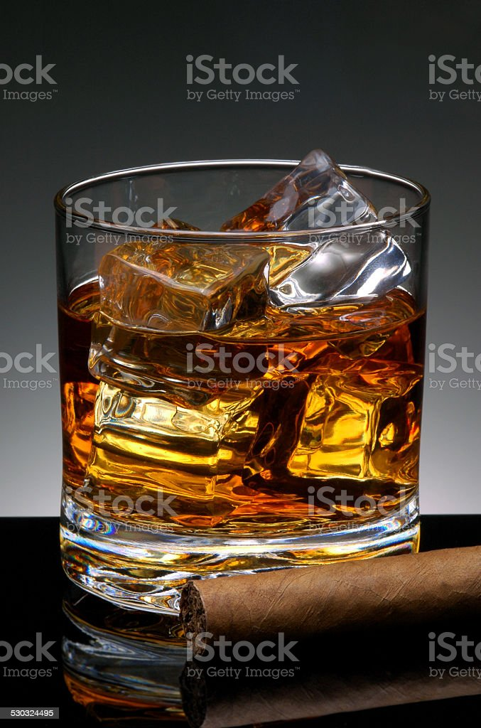 Cigar and Whiskey stock photo