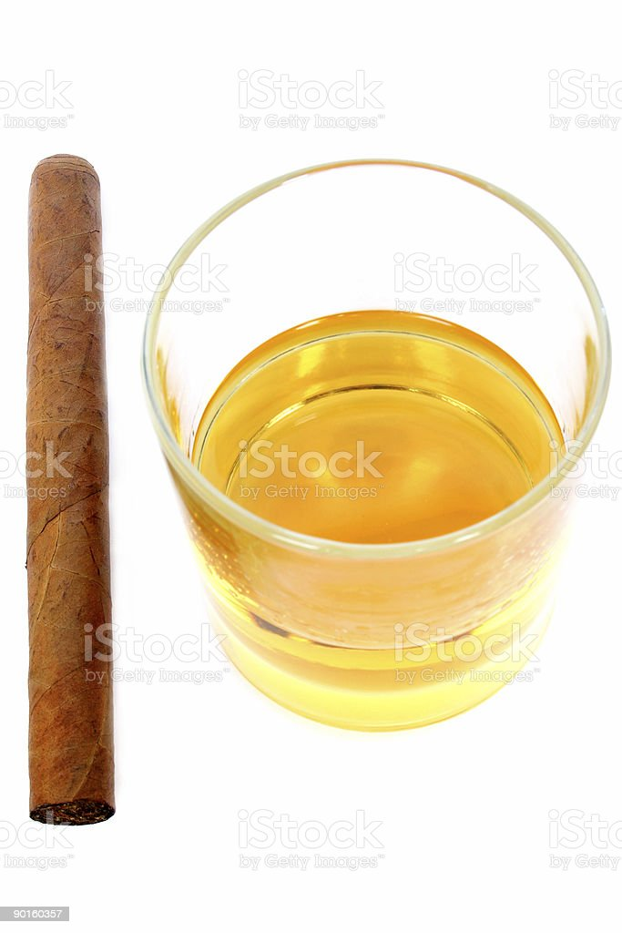 Cigar and Whisky royalty-free stock photo