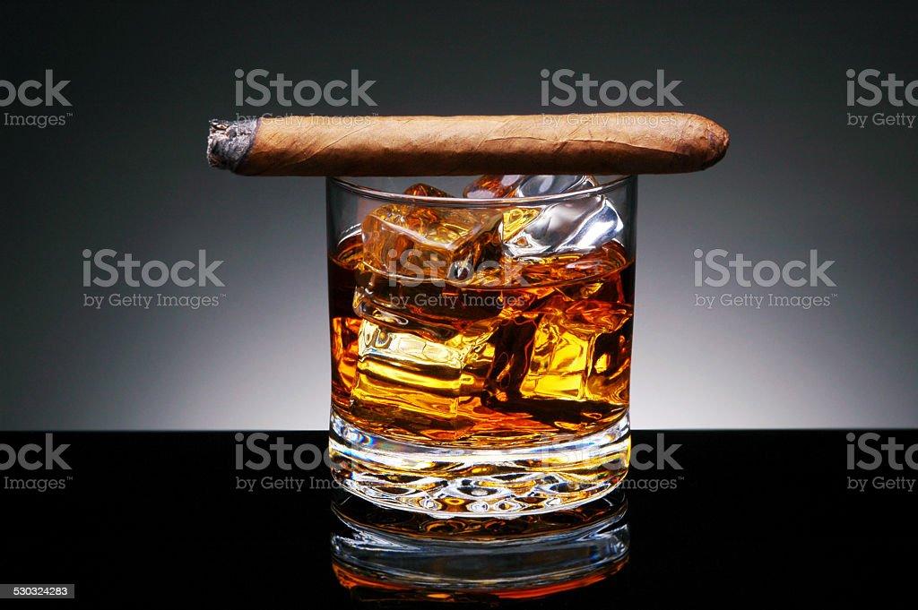 Cigar on Drink stock photo