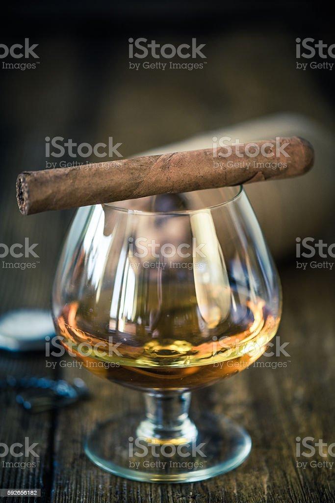 cigar on top of cognac glass stock photo