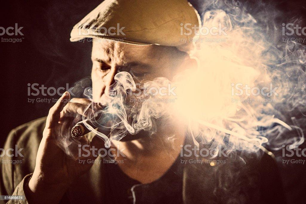 Cigar smoking stock photo