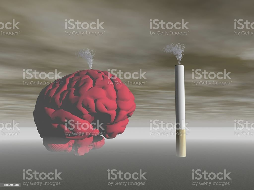 cigarette and brain royalty-free stock photo