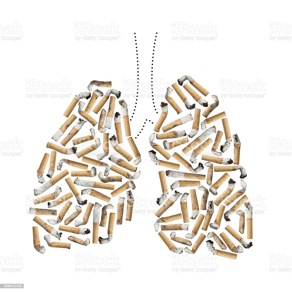 Cigarette and Lung stock photo