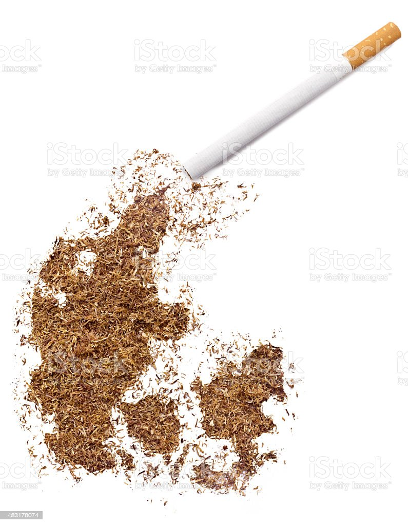 Cigarette and tobacco shaped as Denmark (series) stock photo