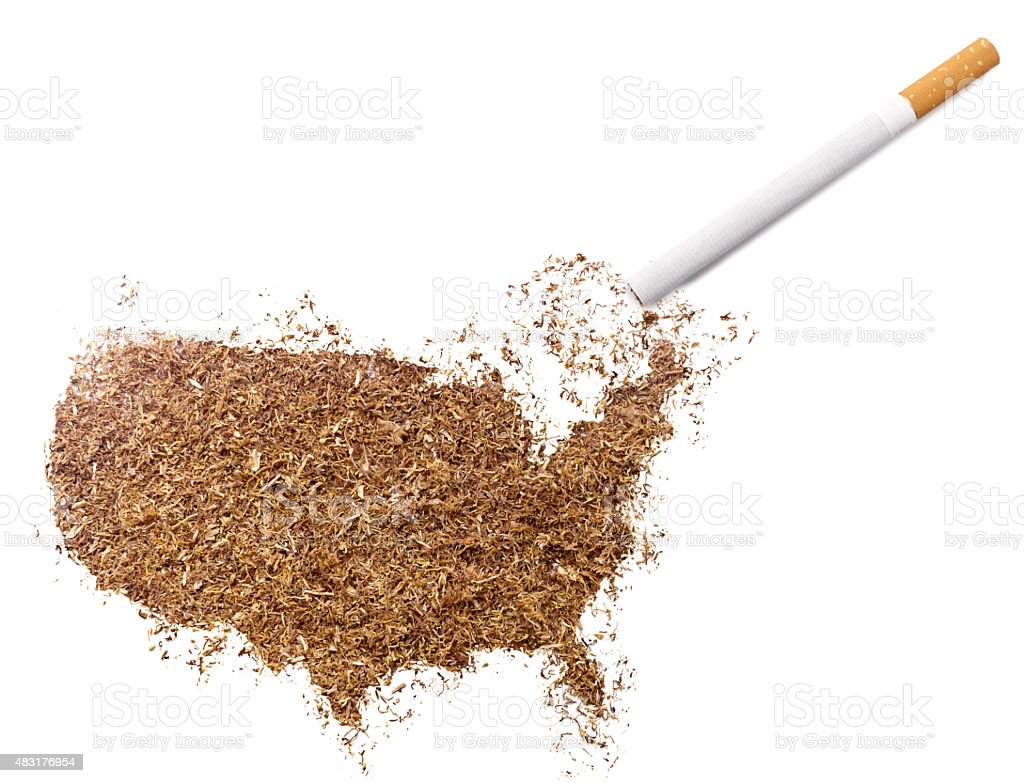 Cigarette and tobacco shaped as USA (series) stock photo