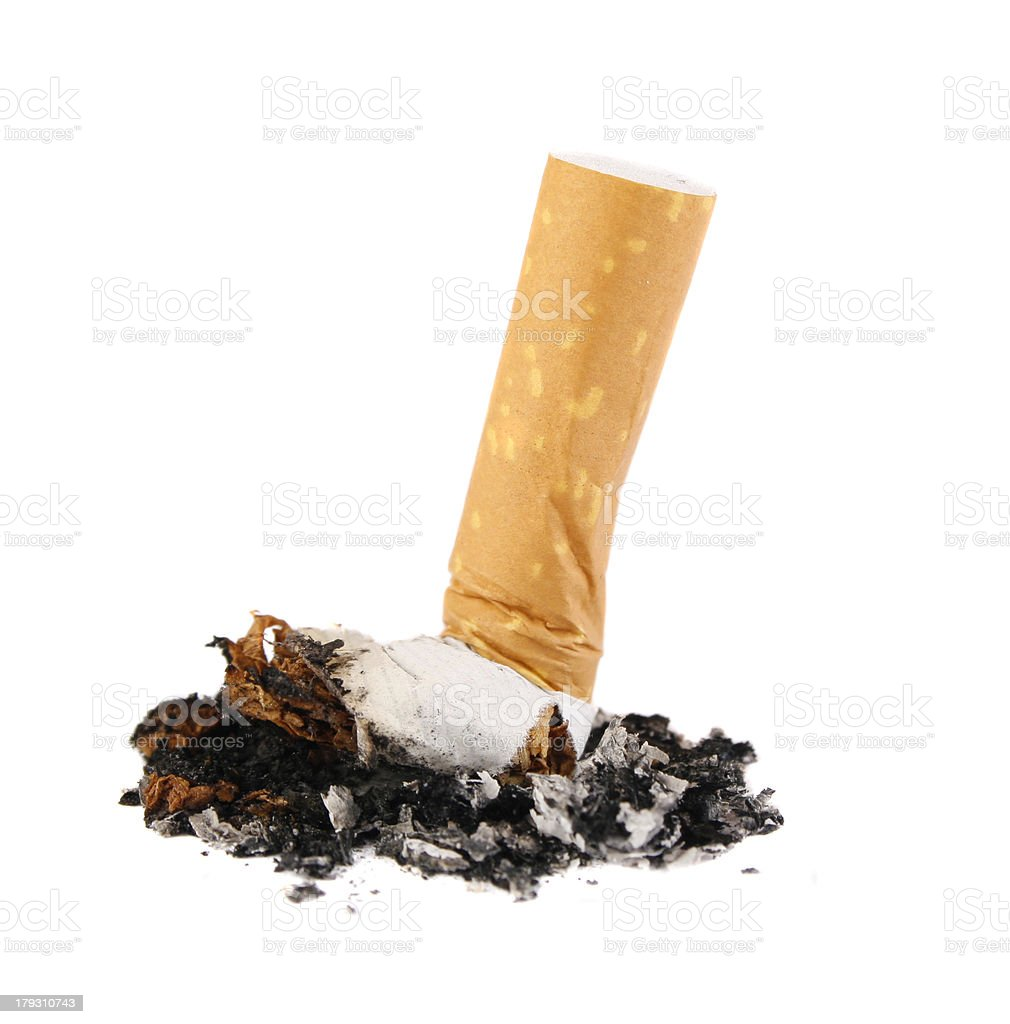 Cigarette butt isolated on white royalty-free stock photo