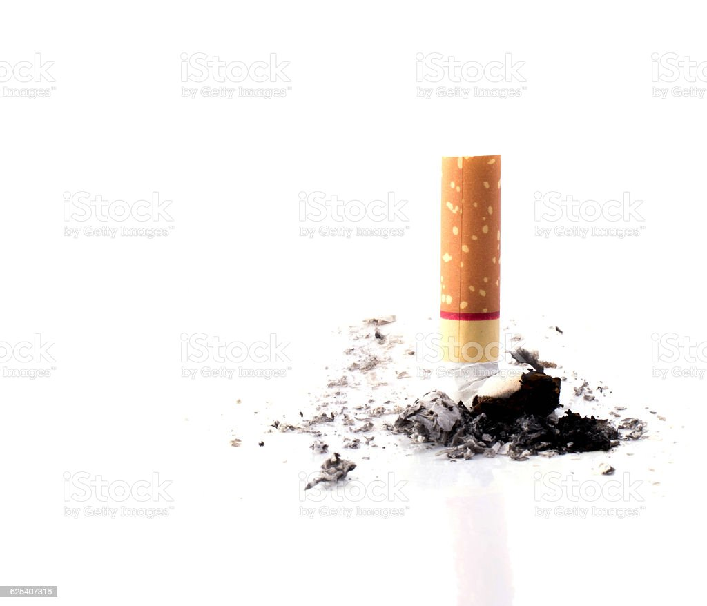 Cigarette butt isolated stock photo