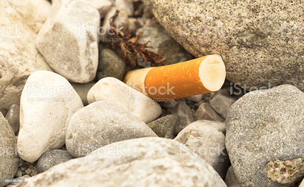 Cigarette butts lying on stone flor in nature stock photo