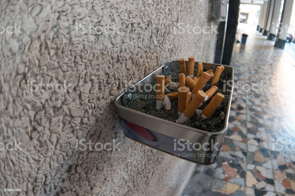 cigarette butts outdoors royalty-free stock photo