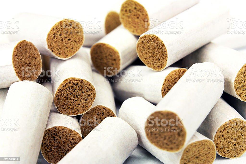 Cigarette filter tips stock photo