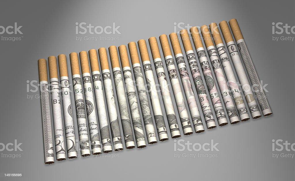Cigarette l'argent photo libre de droits
