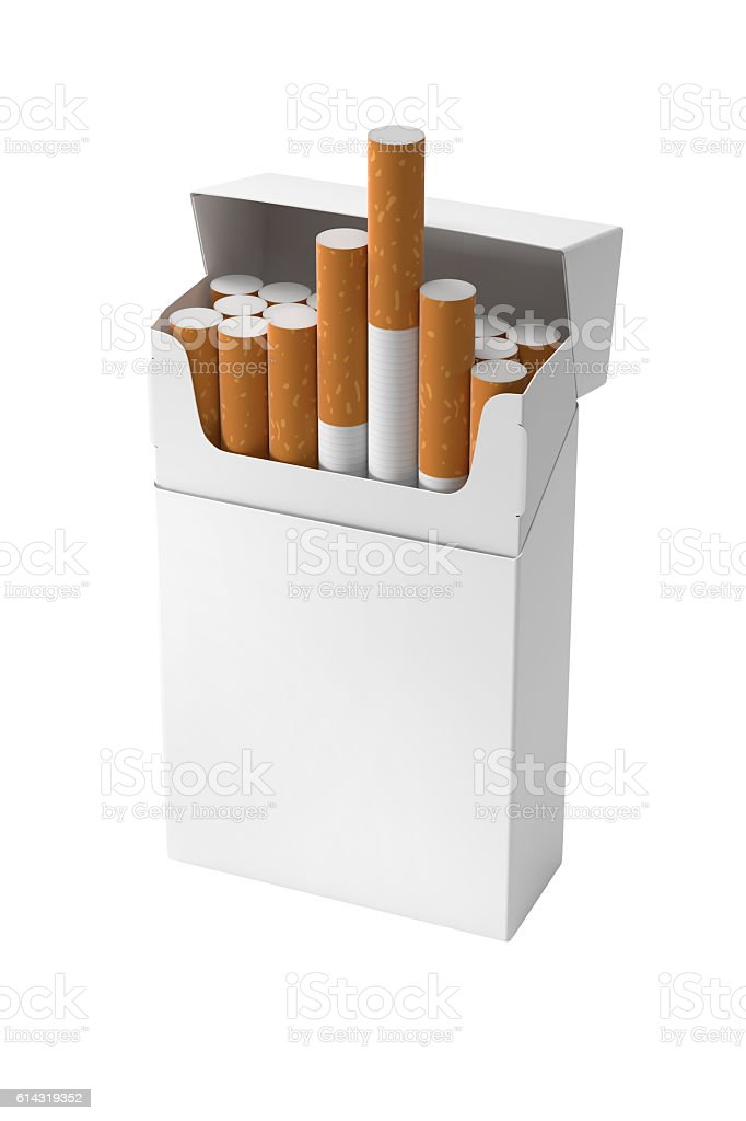 Cigarette pack blank 20 sticks hard corner design template open stock photo