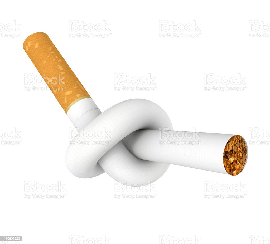 Cigarette tied in a knot in a stop smoking campaign poster stock photo