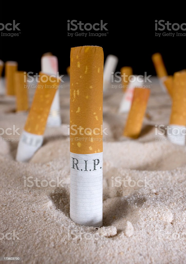 Cigarette tombstones. stock photo
