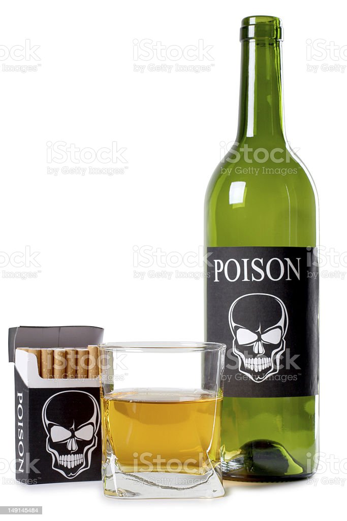 Cigarettes and alcohol royalty-free stock photo