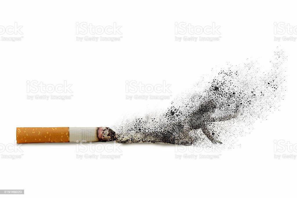 cigarettes and silhouette stock photo