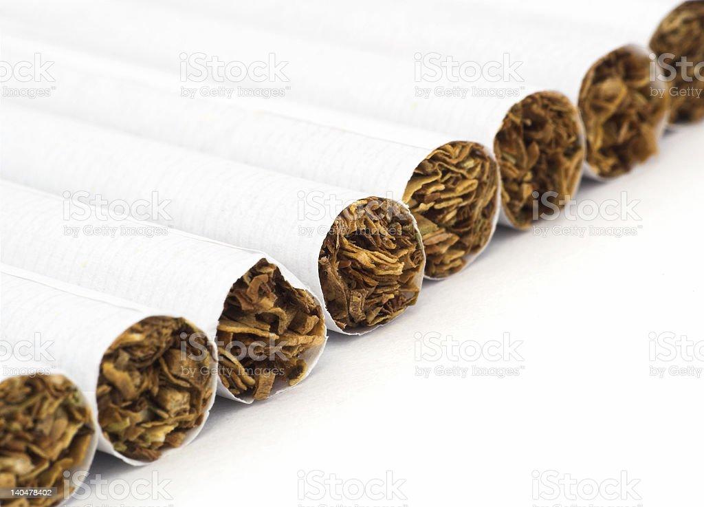cigarettes in line stock photo