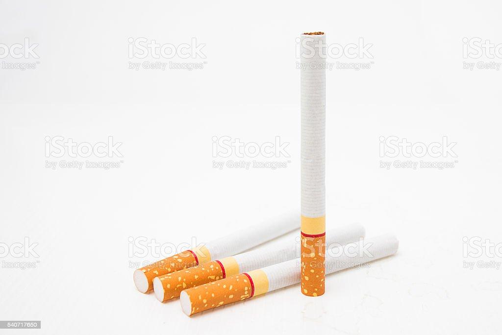 cigarettes on a white background stock photo