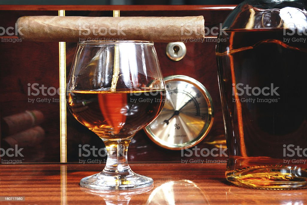 Cigars and Brandy royalty-free stock photo