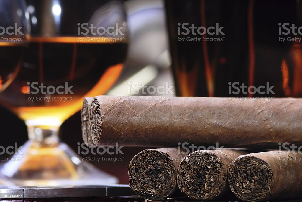 Cigars and Brandy stock photo