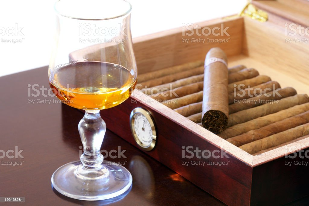 Cigars and rum stock photo
