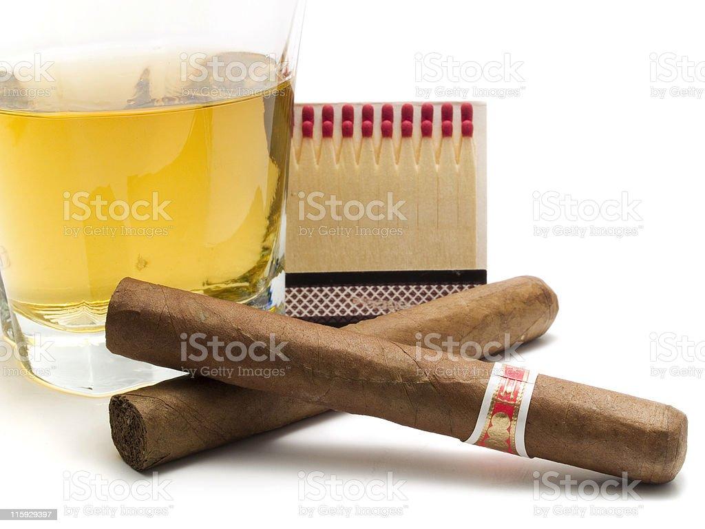 Cigars and whiskey royalty-free stock photo