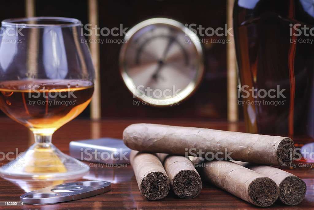 Cigars, Cognac and Humidor as Background stock photo