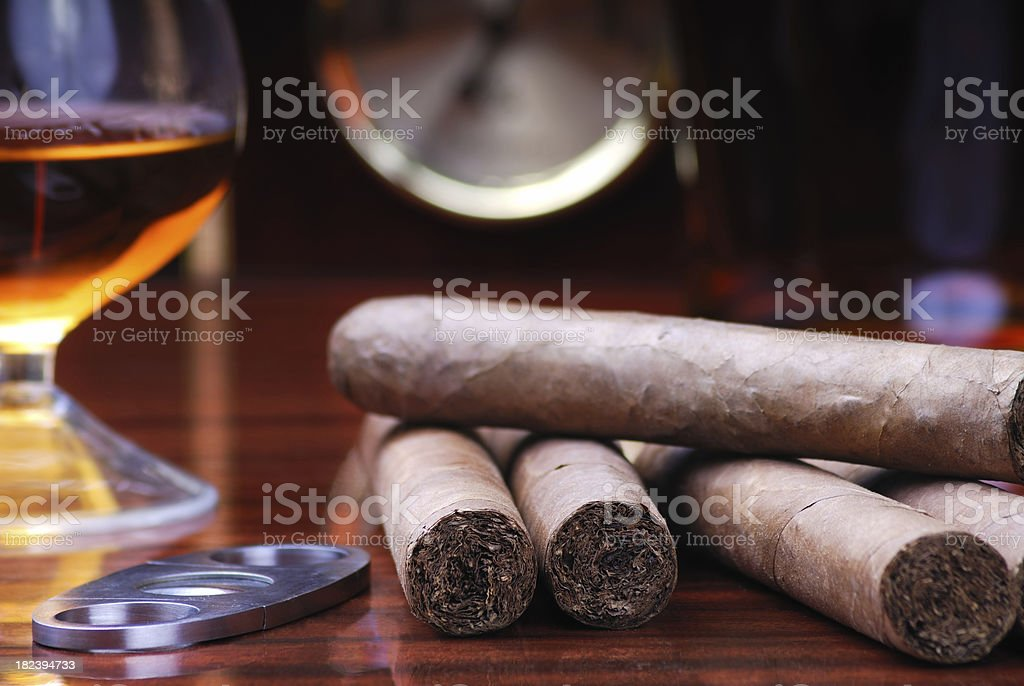 Cigars Cutter and Brandy stock photo