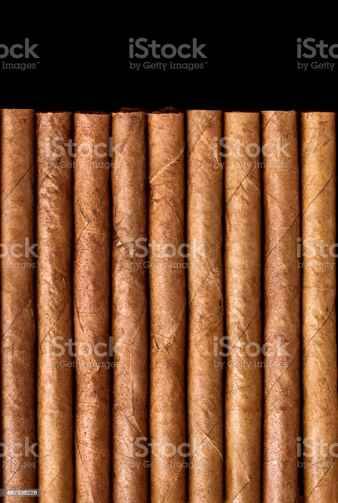 Cigars on black table stock photo