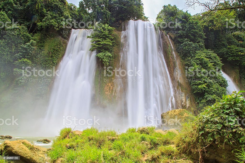 Cikaso Waterfall at Tropical Forest stock photo