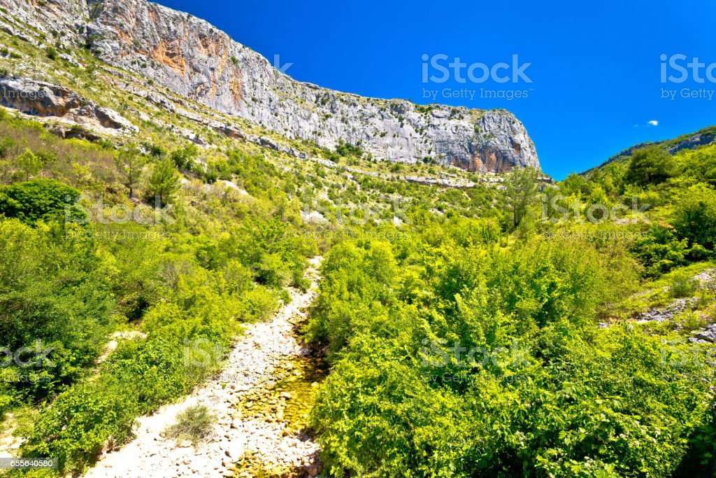 Cikola river dry canyon view, inland Dalmatia, Croatia stock photo