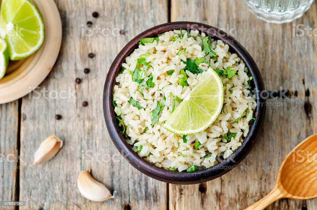 cilantro lime garlic brown rice stock photo