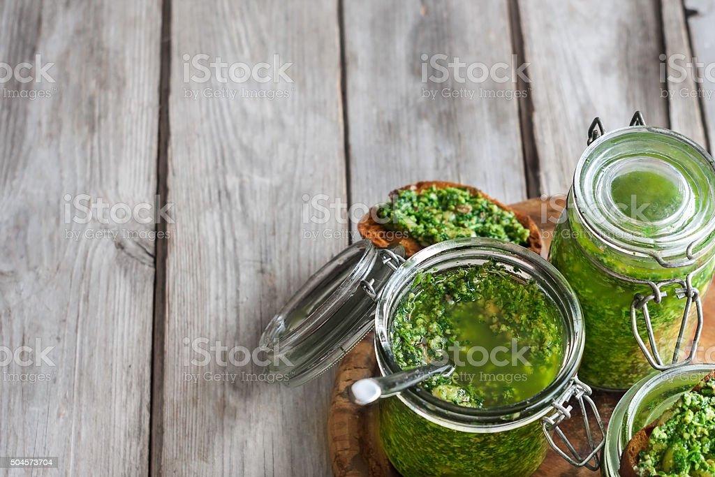 Cilantro pesto background stock photo