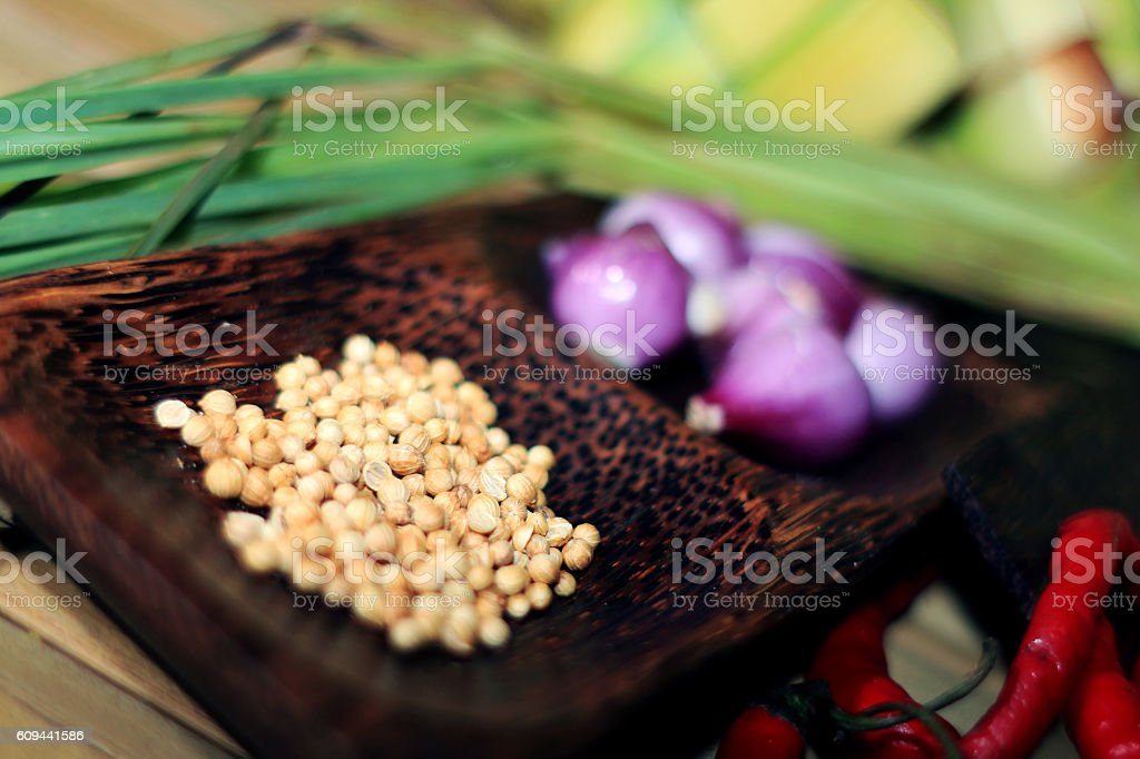 cilantro, red onion stock photo