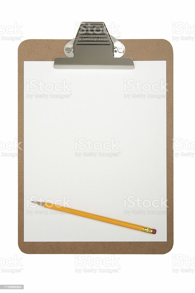 Cilpboard with white pad and yellow no.2 pencil royalty-free stock photo