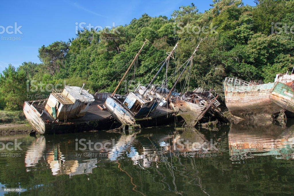Cimetière de bateaux, Douarnenez, Finistère, Bretagne stock photo