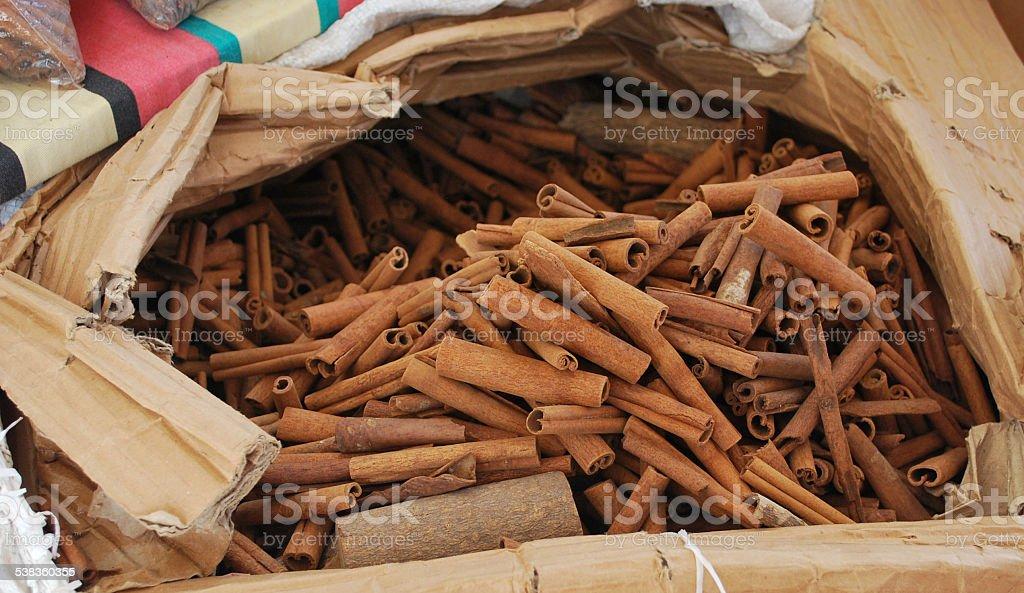 Cinamon Sticks in Caribbean Market. stock photo