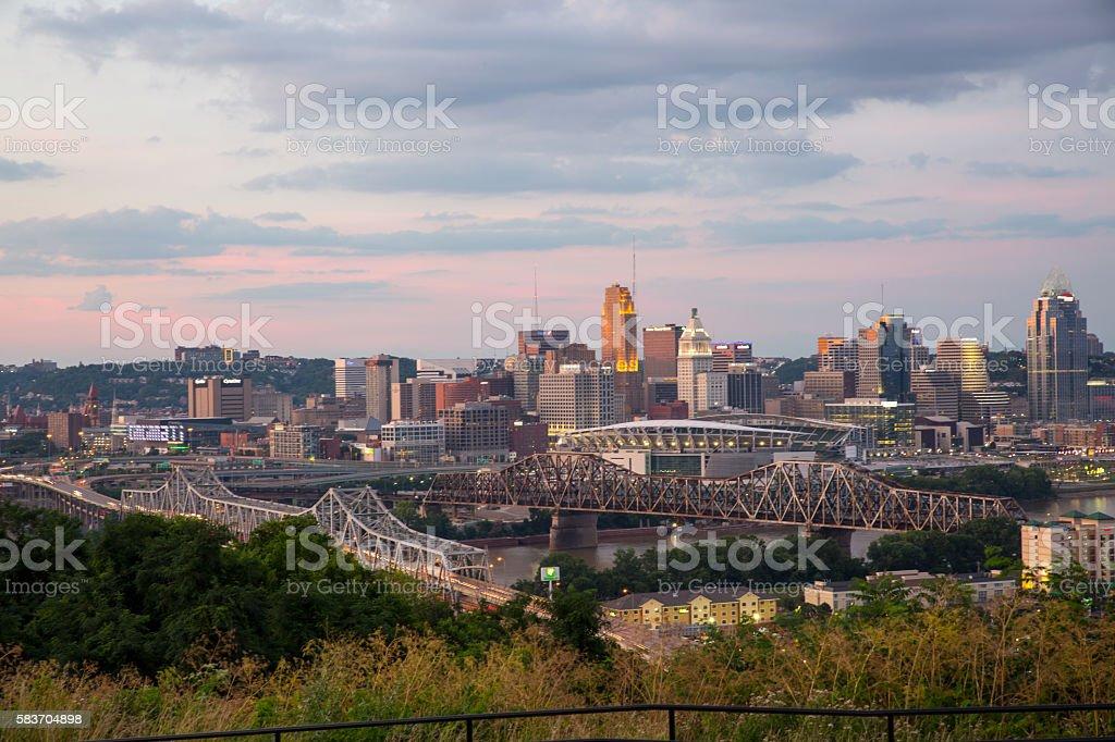 Cincinnati at dusk stock photo