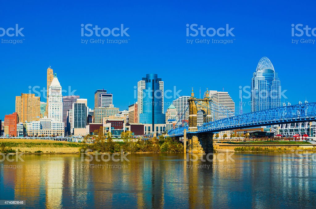 Cincinnati downtown skyline and the John A. Roebling suspension bridge stock photo
