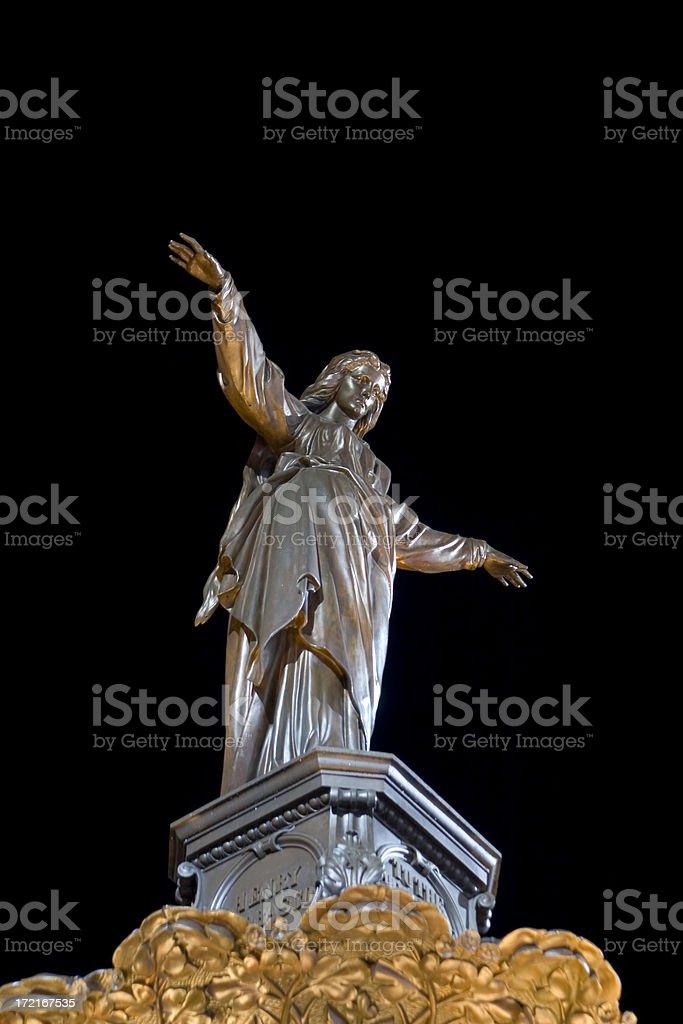 Cincinnati Fountain Square, Genius of Water sculpture by Tyler Davidson stock photo