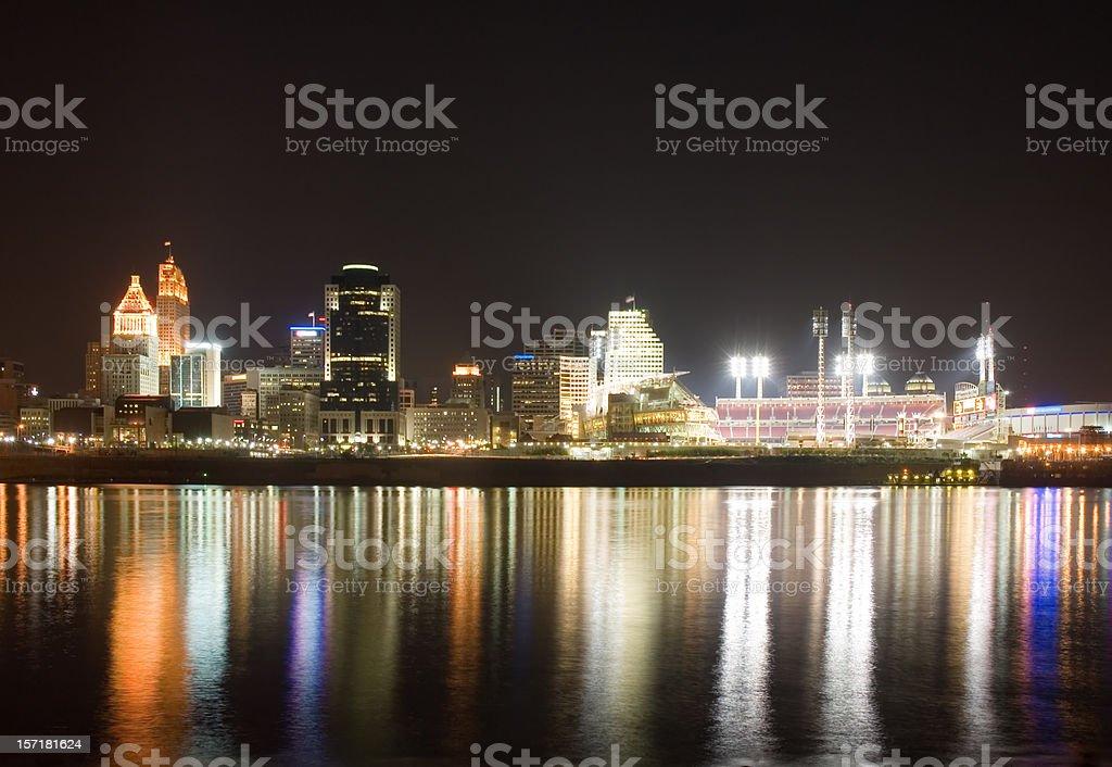 Cincinnati Oh by night royalty-free stock photo