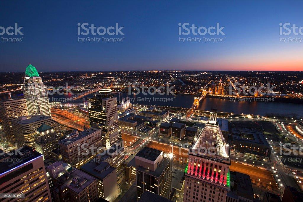 Cincinnati, Ohio twilight stock photo