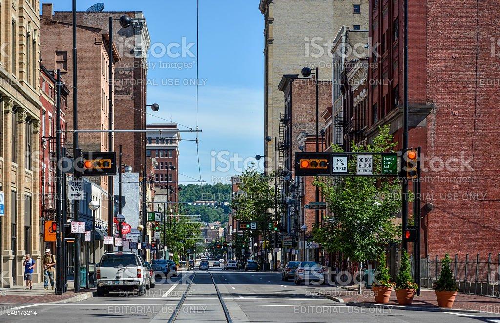 Cincinnati Road with Lights Intersection stock photo